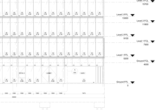 External elevation (cafe & lobby) - Documentation 3