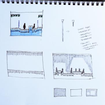 Conceptual sketches, clubrooms - Unity